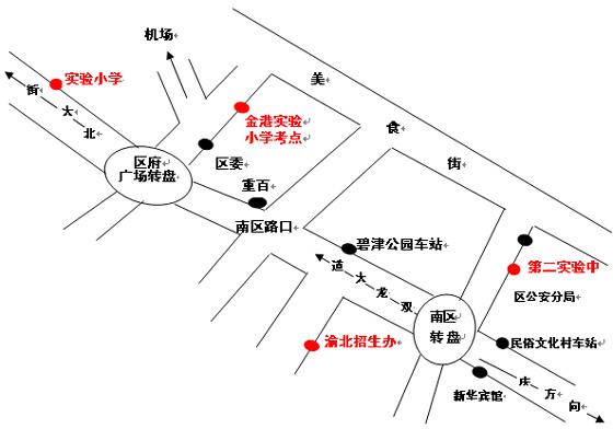 第二实验中学、金港国际小学考点位置示意图