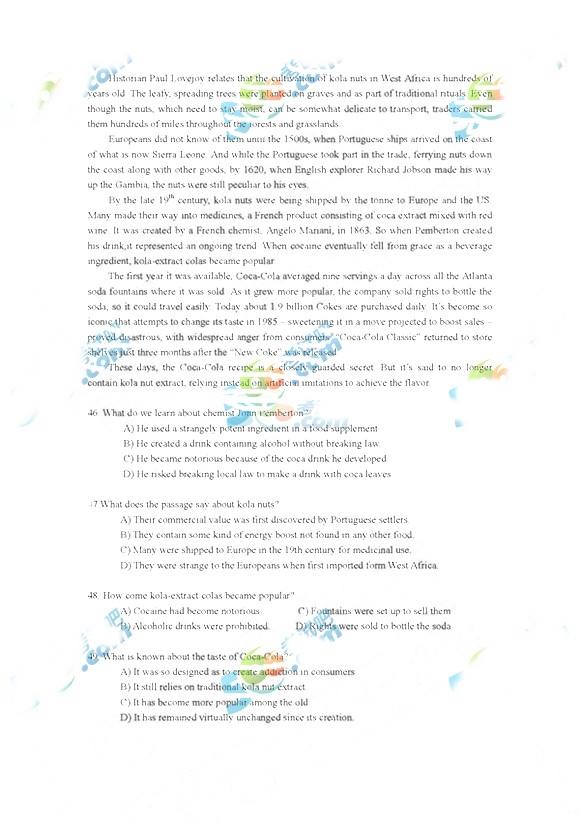 2017年12月六级考试真题答案