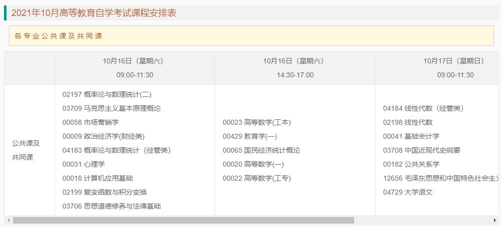 2021年10月重庆自考笔试课程安排