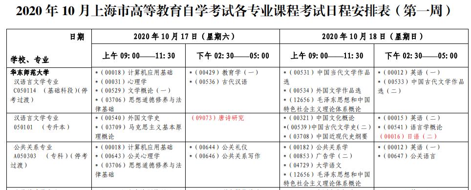 2020年10月上海自考课程考试安排