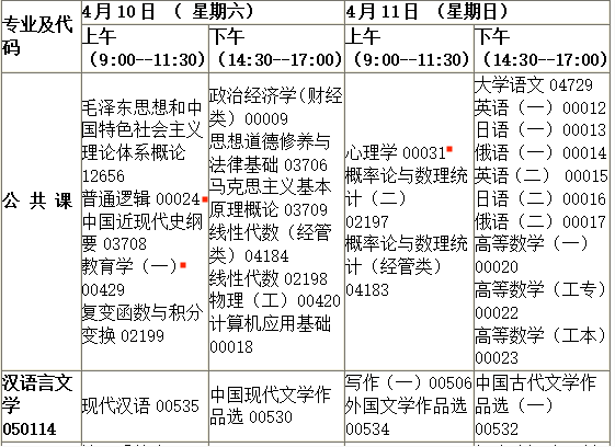 2021年4月吉林自考汉语言文学专科考试安排