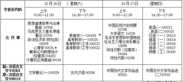 2021年10月吉林自考汉语言文学专科考试安排